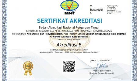 Kado Awal Tahun, Prodi Komunikasi dan Penyiaran Islam (KPI) STAIL Dapat Re-Akreditasi B